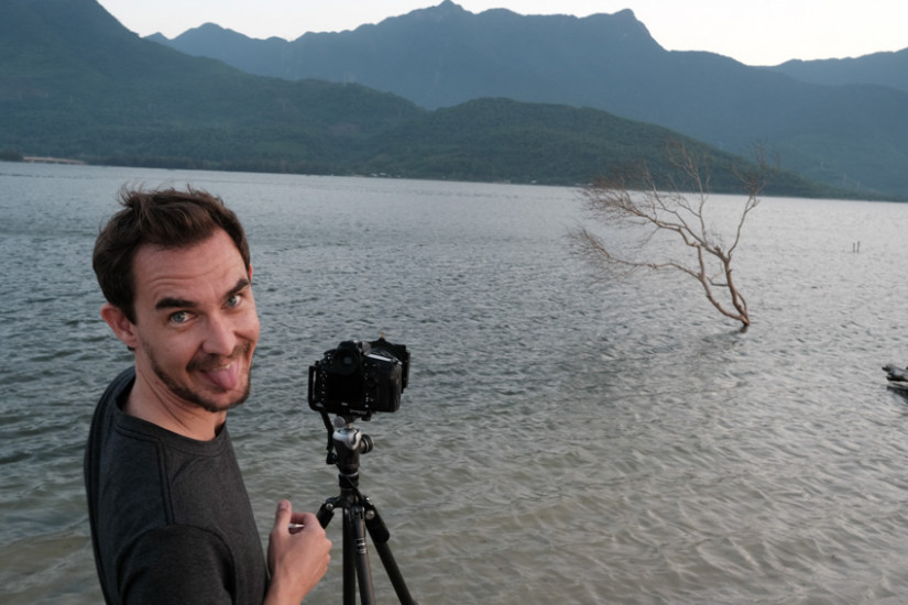 Taking photos of the lagoon of Lang co at sunset with Pics of Asia