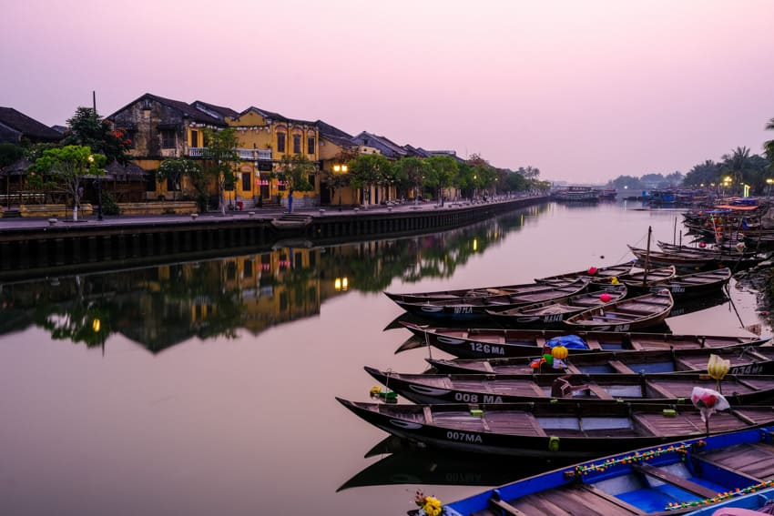 a landscape photo of hoi an and the river at sunrise with Pics of Asia