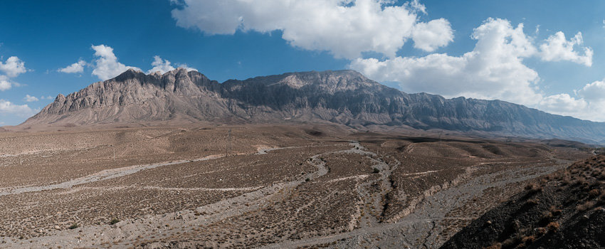 A panorama of the mountainous area around Kerman during Pics of Asia photography tour in Iran in 2018