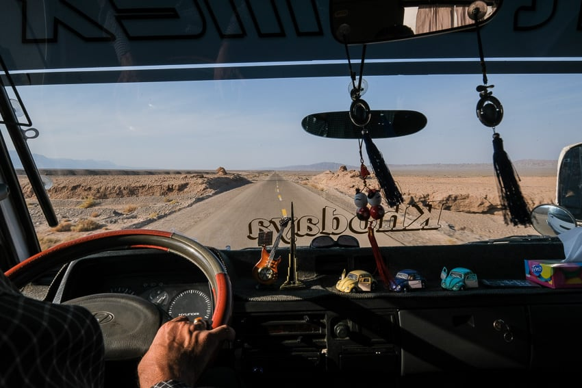 View from our minibus going through the desert of South Iran during a photography tour in 2018