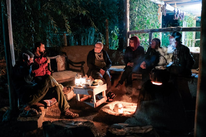 Our photography group enjoying the camp fire in a lodge outside Kermanshah, Iran