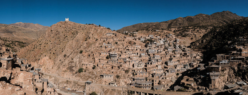 A panorama taken from a rooftop of Palangan village in Kurdistan during Pics of Asia photography tour in Iran