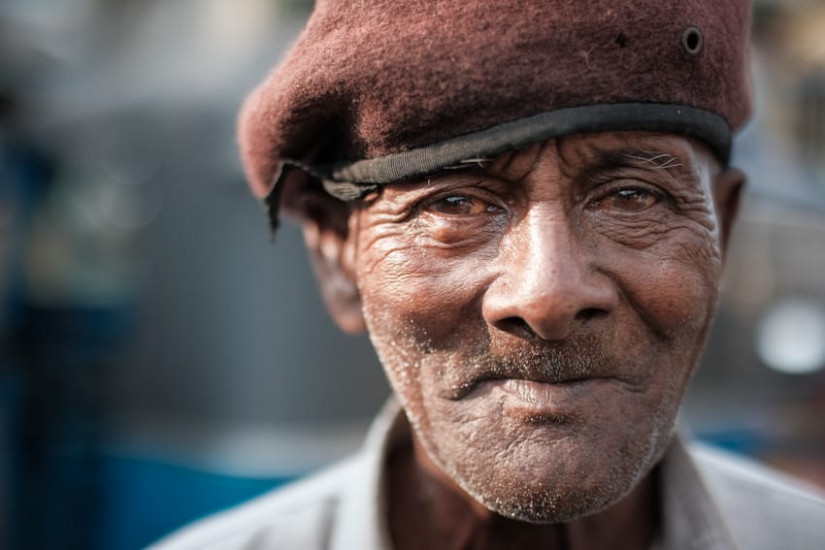 A close up portrait of a man taken in Colombo during Pics of Asia photography tour