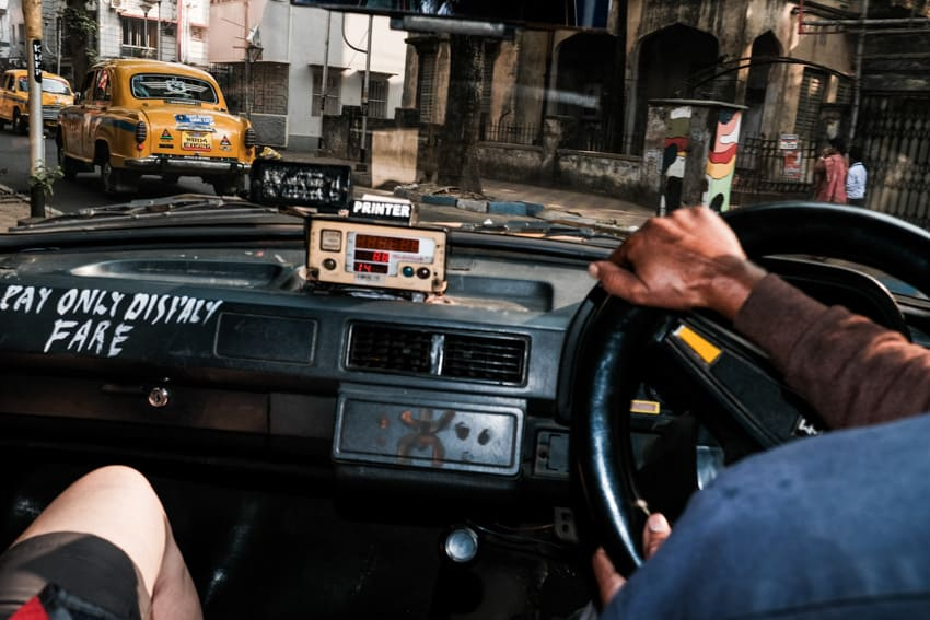 Inside view from a yellow taxi in Kolkata