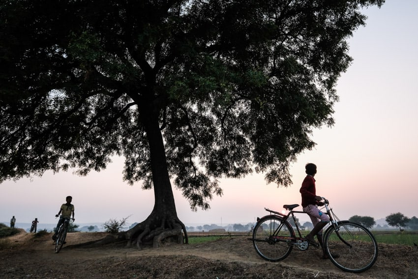 Two boys ride their bicycles home at sunset in the countryside of Varanasi during a photography tour with Pics of Asia