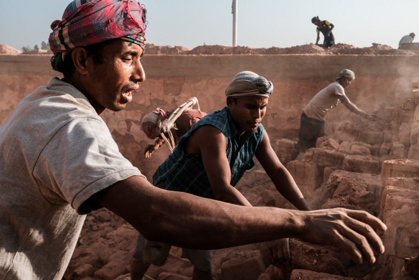 Workers in a dusty brick factory in the countryside of Dinajpur during a Pics of Asia photography workshop
