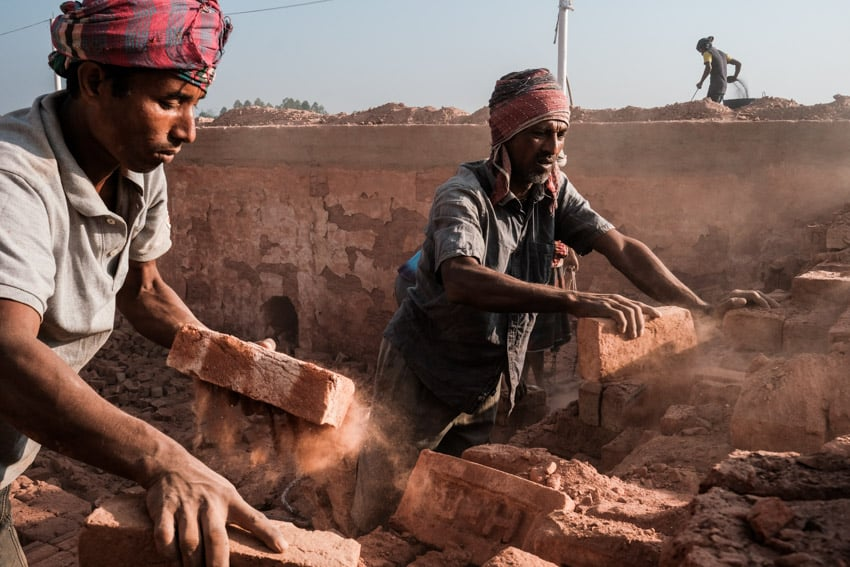Workers in a brick factory in Bangladesh