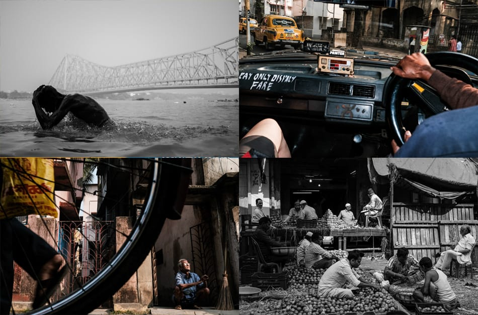 A photo collage taken during a street photography workshop by Pics of Asia in the streets of Kolkata