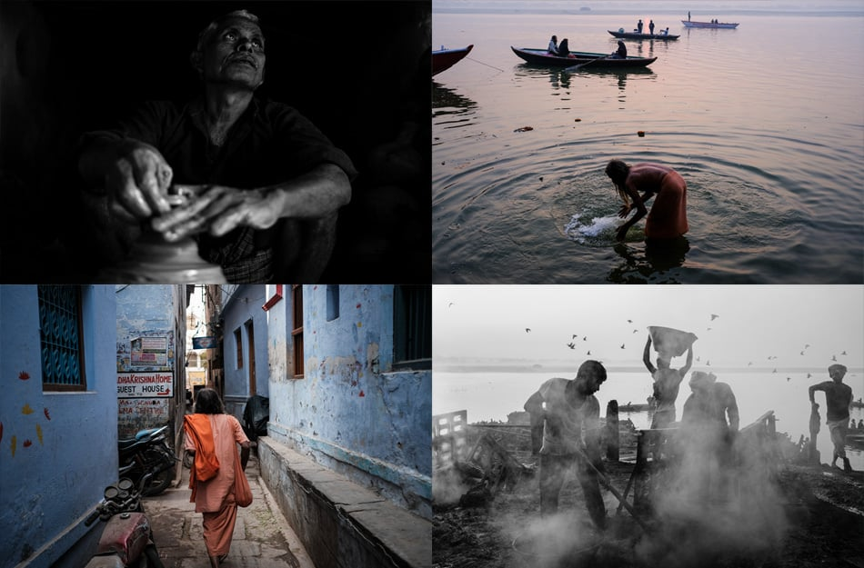 A photo collage of images taken during a street photography workshop in Varanasi by Pics of Asia