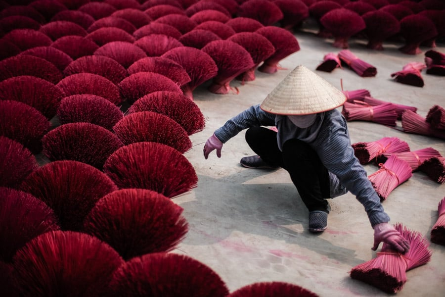 Incense making village near Hanoi in Vietnam visited on a photo tour with Pics of Asia