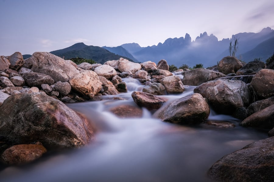 long exposure landscape image of the five finger mountain in Ta Giang Phin, Vietnam on a photo tour with Pics of Asia