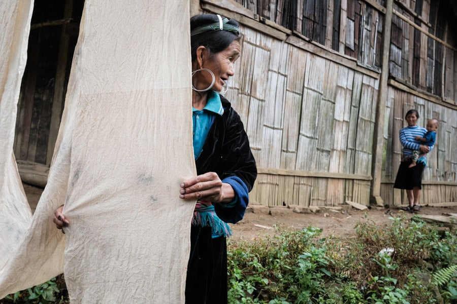 Hmong woman working the textile in Vietnam