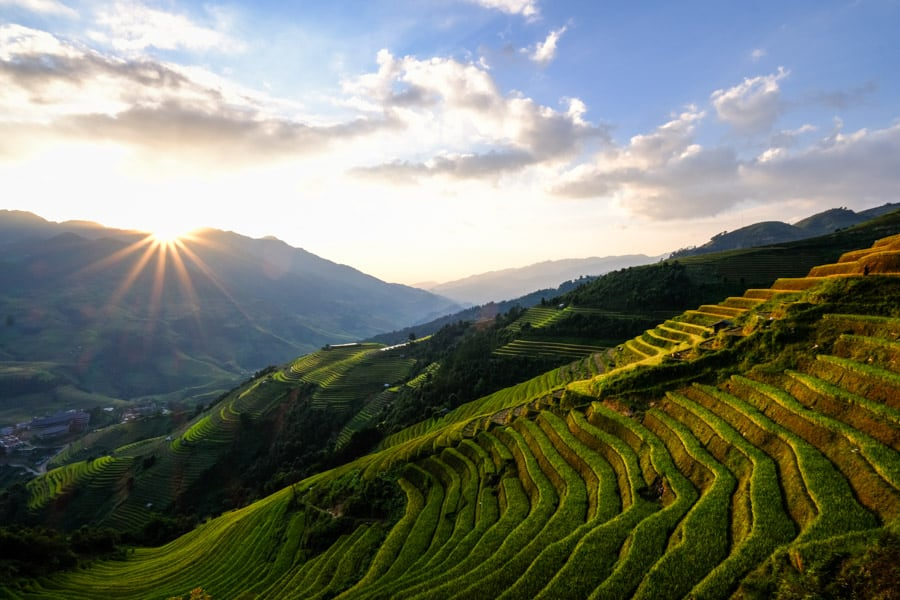 Landscape photo of the sunset on the rice terraces of Vietnam with Pics of Asia photo tour