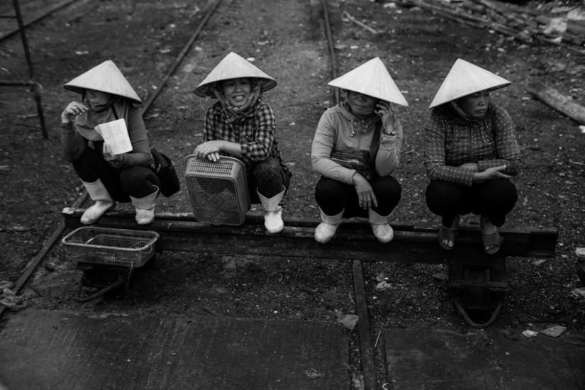 Fish market women in Vietnam