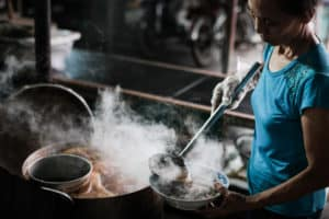 Bun Bo Hue making in a local market in central Vietnam