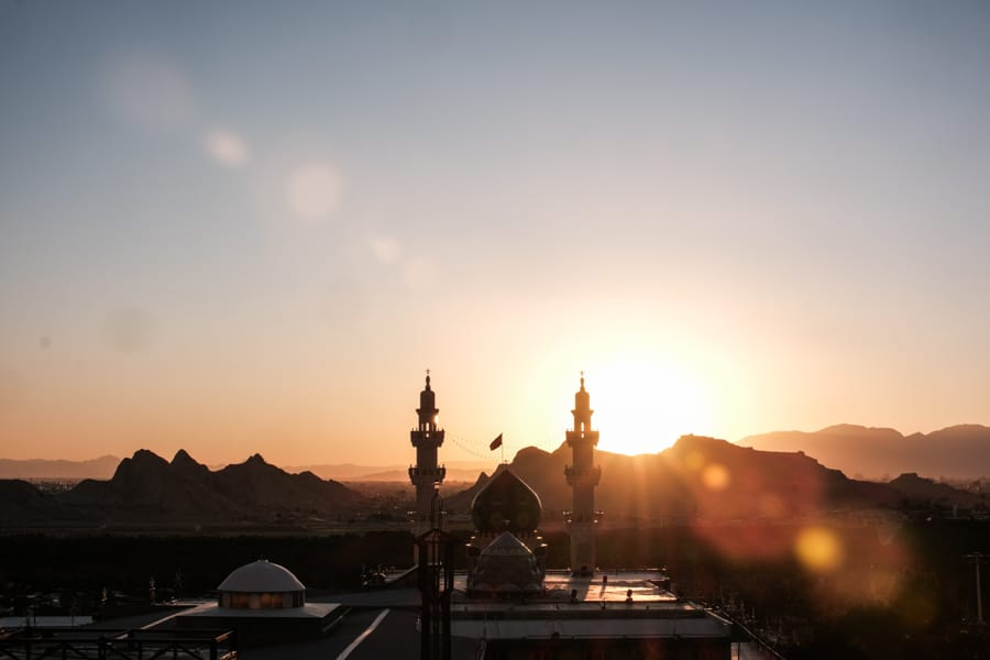 Sunset photo of a mosque in Kerman city