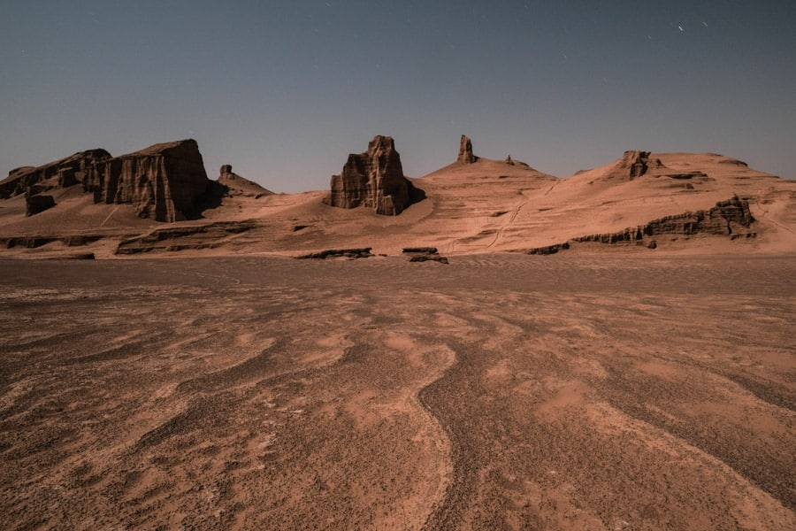 a landscape photo of the rick formations in the Lut desert in Iran during a photography tour with Pics of Asia