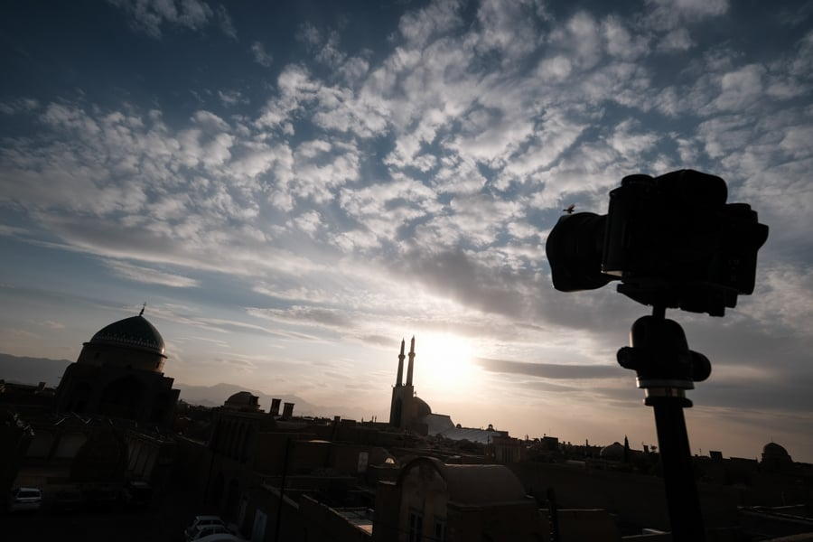 Photograph the sunset over Jameh mosque in Yazd with Pics of Asia