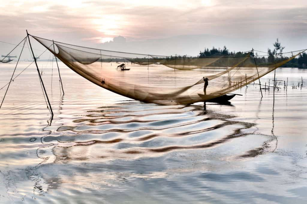 Fisherman attending his net at sunrise on the river in front of Hoi An old town