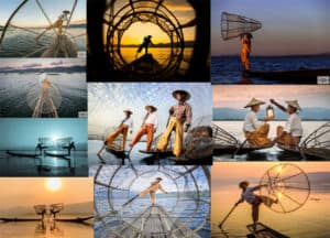 A mosaic of example of staged photos from Inle lake fishermen